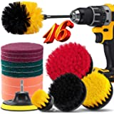 16 Piece Drill Brush Attachment Set, BRITOR Drill Brush Set Power Scrubber with Extend Long Attachment, Scrub Pads & Sponge,