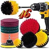 16 Piece Drill Brush Attachment Set, BRITOR Drill Brush Set Power Scrubber with Extend Long Attachment, Scrub Pads & Sponge,