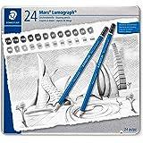 STAEDTLER 100 G24 ST Mars Lumograph Art Drawing Pencils, Graphite Pencils in Metal Case, Break-Resistant Bonded Lead, Grades