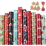Lemonfilter 10 Pack Christmas Wrapping Paper 70 x 44.5 cm, Large Sheets Wrapping Paper with 20pcs DIY Blank Gift Tags and 30m