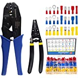 Wire Terminals Crimper Kit, Knoweasy Insulated Wire Terminals Connectors Ratcheting Crimper Tool 22-10AWG with 419Pcs Insulat