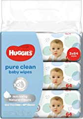 HUGGIES Pure Clean Baby Wipes, 64ct, (Pack of 3)
