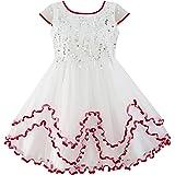 Sunny Fashion Flower Girls Dress Sparkling Sequin Wedding Bridesmaid Dress Size 4-10 Years