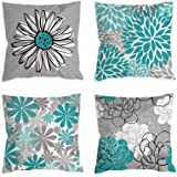 COLORPAPA Teal Pillow Covers 18x18 Set of 4 Turquoise and Grey Decorative Throw Pillow Cover for Couch Modern Daisy Pillows C