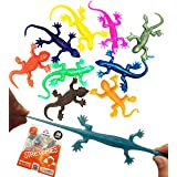 """UpBrands Super Stretchy Lizards Toys 3"""" Bulk Set, 8 Glitter Colors, Kit for Birthday Party Favors for Kids, Goodie Bags, East"""