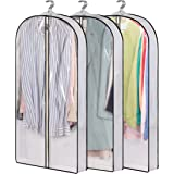 """AOODA 40"""" Hanging Garment Bags for Closet Storage Suit Bag 4"""" Gusseted Clear Clothes Cover for Coat, Jacket, Sweater (3 Packs"""