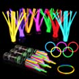 """300 Glow Sticks Bulk Party Supplies - Glow in The Dark Fun Party Pack with 8"""" Glowsticks and Connectors for Bracelets and Nec"""