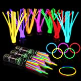 "300 Glow Sticks Bulk Party Supplies - Glow in The Dark Fun Party Pack with 8"" Glowsticks and Connectors for Bracelets and Nec"