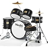 Mendini by Cecilio 16 inch 5-Piece Complete Kids/Junior Drum Set with Adjustable Throne, Cymbal, Pedal & Drumsticks, Metallic