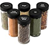 AllSpice 4 Ounce Glass Spice Jars (Same Size as Penzeys and Spice House) with Black Plastic Lids and 3 Styles of Shaker Tops-
