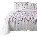 Bedsure Queen/Full Size (90x96 inches) 3-Piece Quilt Set Coverlet, Lilac Flower Pattern, Lightweight Design for Spring and Su