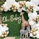 "Eanjia Wedding Balloon Garland Kit White Chrome Gold Latex Balloon 5"" to 18"" 140pcs for Engagement Wedding Party Backdrop Dec"