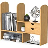 Bamboo Desktop Bookshelf, Desk Storage Organizer Display Shelf Rack with 2 Drawers for Office Kitchen