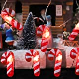 IMPRESS LIFE Candy Cane Christmas Theme String Lights, 10ft 20 LED 3D Plus Twinkle Lights, USB Battery-Powered with 8 Flicker