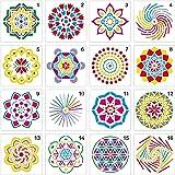 (Stencil-Mandala) - 16 PCS Bullet Notebook Journal Stencil Plastic Planner Set for Journaling Suppies/Diary/Scrapbook DIY Dra