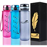 DEO VOLENTE 1Litre water bottle with time marker,BPA Free sport water bottle,Leak Proof Flip Top Lid drink bottle with Fruit