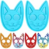 2 Pieces Self-Defense Cat Keychain Silicone Molds Crystal Epoxy Resin Mold Self-Defense Cat Pendant Mold DIY Keychain Casting