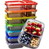 Youngever 7 Pack Bento Lunch Box, Meal Prep Containers, Reusable 3 Compartment Plastic Divided Food Storage Container Boxes f