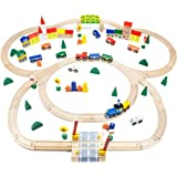 Conductor Carl TCON-201 100-Piece Train Track Town Starter Set Bulk Value Wooden Set with 34 Track Pieces, 12 Cars & Trains,