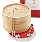 Gray Oval - 10 inch Bamboo Steamer Basket 2-Tier (2 Pairs of Chopsticks & 2 Holders, 50 Paper Liners) - Bamboo Dumpling Steam