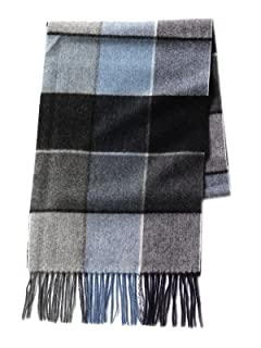 Block Check Cashmere Scarf 11-45-0424-544: Navy / Blue / Grey