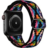 OXWALLEN Stretchy Solo Loop Compatible with Elastic Apple Watch Bands 38mm 40mm, with Length Adjuster Braided Pattern Women M