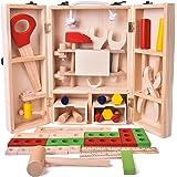 43 PCs Wooden Toys Tool Box Set, Kids Tool Kits, Boy Gift Learning Toy Construction Set Pretend Playset