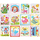 12Pcs Colorful Sticky Buttons Mosaic Paintings Art Kits for Kids, DIY Mosaic Art Crafts Activities Early Learning Games Handm