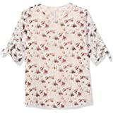 CALVIN KLEIN Women's Printed Short Sleeve Top with Knot Detail