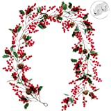 Think Wing Christmas Garland, 6.5ft Red Berry Garland Christmas Decorations Artificial Red Berries Garland with Pine Con and