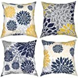 Throw Pillow Covers 18 X 18 Set of 4,Navy Blue Gold Oversized Flower Geometry Square Pillow Cushion Cases,Yellow and Gray Flo