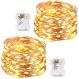EZONEDEAL 2Pack Warm White Led String Lights Battery Powered Copper Wire Fairy String Lights Waterproof Decorative Lights for