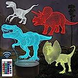 FULLOSUN 恐竜3Dナイトライト おもちゃ 子供用 T-rex リモコン 寝かしつけランプ 16色変更 調光機能 男の子 女の子 クリスマス 誕生日プレゼント