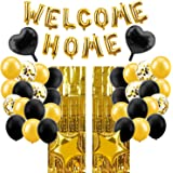 Lnlofen Welcome Home Balloon Banner Decorations Kit, 39Pcs, Including Gold Welcome Home Balloons Sign, Foil Curtains, Latex &