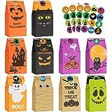 Halloween Treats Bags Party Favors - 50 Pcs Kids Halloween Candy Bags for Trick or Treating + 60 Pcs Halloween Stickers, Mini