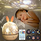 Night Light for Kids,Rotating Starry Night Light Projector with Remote Control,6 Films,USB Rechargeable,Soothe Musics,Bedside