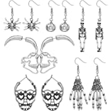 Finrezio 6 Pairs Halloween Skull Earrings for Women Gothic Scary Hollow Skeleton Skull Face Stud Earrings Punk Style Silver S