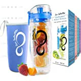 Live Infinitely 32 oz. Fruit Infuser Water Bottles With Time Marker, Insulation Sleeve & Recipe eBook - Fun & Healthy Way to