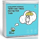 Milddreams Waterproof Mattress Protector Pad Twin - Plastic Bed Cover - Waterproof Fitted Sheet (39x75+14 inch Deep)- Vinyl F