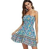 just quella Women Sexy Strapless Mini Dress Summer Tube Top Dresses