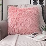 "Phantoscope Decorative New Luxury Series Merino Style Pink Fur Throw Pillow Case Cushion Cover 22"" x 22"" 55 x 55 cm"