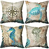 """MoharWall Mediterranean Style Throw Pillow Covers Nautical Compass Ocean Theme Square Linen Cushion Cases for Sofa Couch 18"""""""