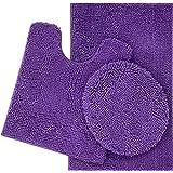 ITSOFT 3pc Non-Slip Shaggy Chenille Bathroom Mat Set, Chenille, Lilac, Medium