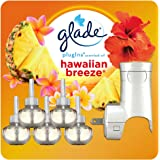 Glade PlugIns Refills Air Freshener Starter Kit, Scented Oil for Home and Bathroom, Hawaiian Breeze, 3.35 Fl Oz, 1 Warmer + 5