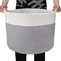 大きな綿のロープバスケット、ランドリーバスケット織りバスケット毛布バスケット、収納バスケット、子供用品収納 、おもちゃボ…