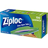 Ziploc Plastic Sandwich Bags with Secure Seal and Easy Open Tabs, BPA Free, 100 Count