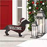 """Glitzhome 21.93"""" L Wooden Metal Dachshund Standing Front Door Porch Sign Christmas Welcome Sign Outdoor Indoor Welcome Joy Si"""