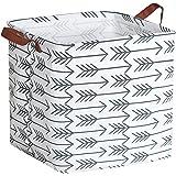 HIYAGON Square Storage Bins,Storage Baskets,Canvas Fabric Storage Boxes,Foldable Nursery Basket for Clothes,Books,Shelves Bas