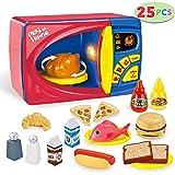 JOYIN 25 Pieces Microwave Cooking Kitchen Food Pretend Play Toy Playset, Play Food Kitchen Playset Accessories  Food