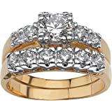 Palm Beach Jewelry Round White Cubic Zirconia Two-Tone 14k Gold-Plated 2-Piece Bridal Ring Set
